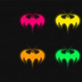 Batman Logo négy színű izzó neon vektor ikon