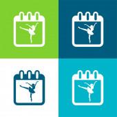 Baletní tanečnice na stránce kalendáře, aby připomněla třídu den byt čtyři barvy minimální ikona nastavena
