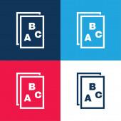 ABC písmena na papíře Symbol modré a červené čtyřbarevné minimální ikony