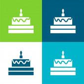 Birthday Cake Flat four color minimal icon set