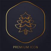 Big Pine Tree Shape arany vonal prémium logó vagy ikon