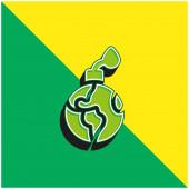Bomb Grünes und gelbes modernes 3D-Vektor-Symbol-Logo