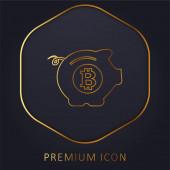 Bitcoin Safe Pig goldene Linie Premium-Logo oder Symbol