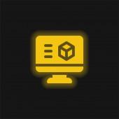 3D tisk Software žlutá zářící neonová ikona