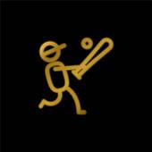 Baseballspieler vergoldet metallisches Symbol oder Logo-Vektor