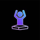 Boy On Lotus pozíció Rugalmas karok kék gradiens vektor ikon