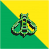 Bee Green a žluté moderní 3D vektorové logo