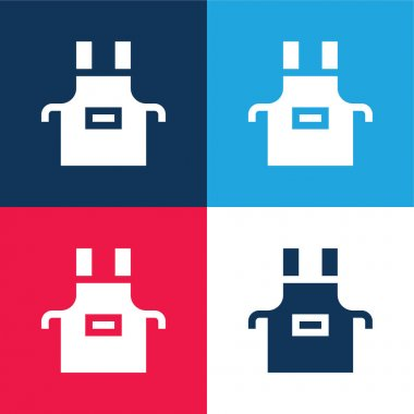 Apron blue and red four color minimal icon set stock vector