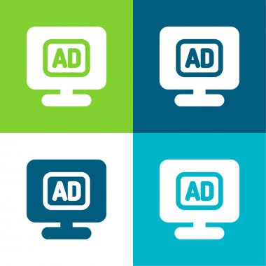 Advertising Flat four color minimal icon set stock vector