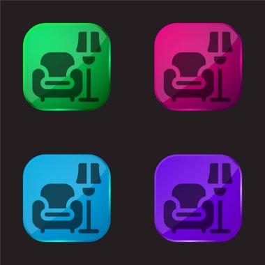 Armchair four color glass button icon stock vector