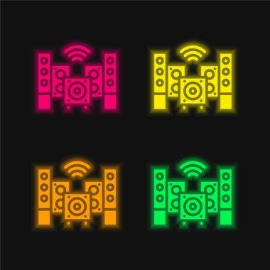 Audio four color glowing neon vector icon stock vector