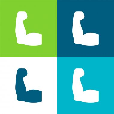 Biceps Flat four color minimal icon set stock vector