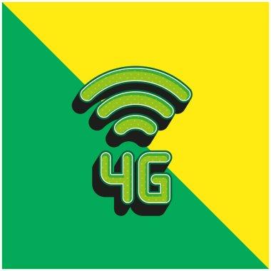 4g Green and yellow modern 3d vector icon logo stock vector