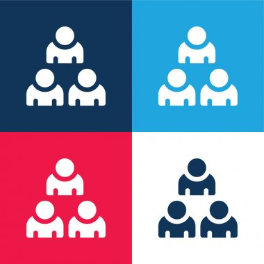 Audience blue and red four color minimal icon set stock vector