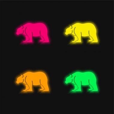 Bear four color glowing neon vector icon stock vector