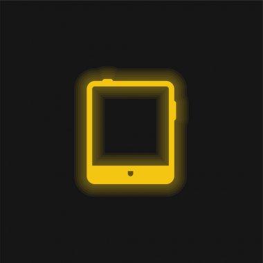 Big Tablet yellow glowing neon icon stock vector