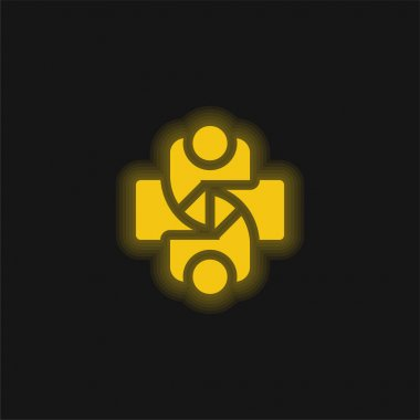 Agreement yellow glowing neon icon stock vector