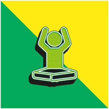 Boy On Lotus Position Flexing Arms Green and yellow modern 3d vector icon logo stock vector