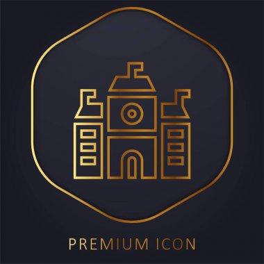 Academy golden line premium logo or icon stock vector