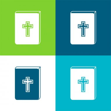 Bible With Cross Sign In Front Flat four color minimal icon set stock vector