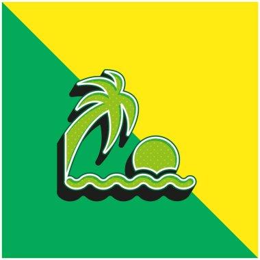 Beach Sunset Green and yellow modern 3d vector icon logo stock vector