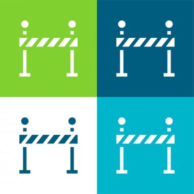 Barrier Flat four color minimal icon set stock vector