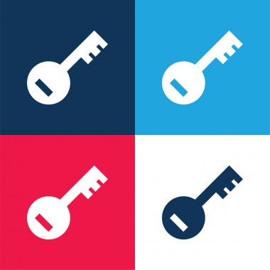 Account PassKey blue and red four color minimal icon set stock vector