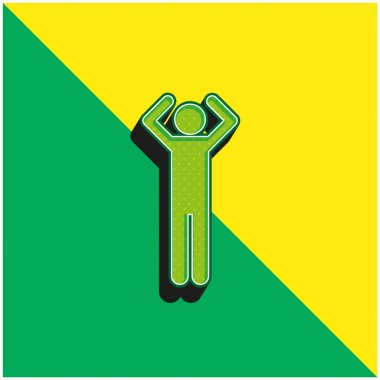 Basic Figure With Arms Up Green and yellow modern 3d vector icon logo stock vector