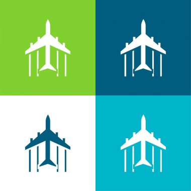 Airplane Flight Pointing Up Flat four color minimal icon set stock vector