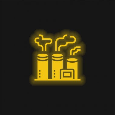 Air Pollution yellow glowing neon icon stock vector