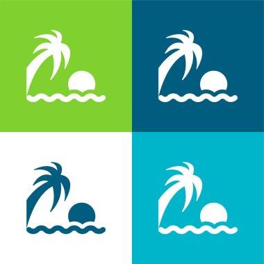 Beach Sunset Flat four color minimal icon set stock vector