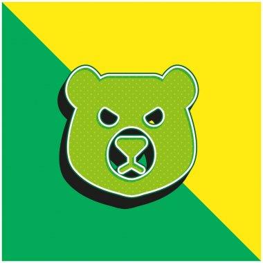 Bear Head Green and yellow modern 3d vector icon logo stock vector