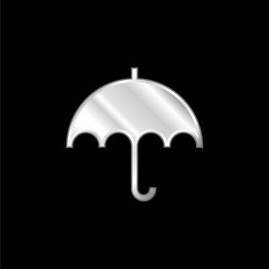 Black Umbrella silver plated metallic icon stock vector