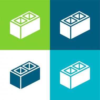 Block Flat four color minimal icon set