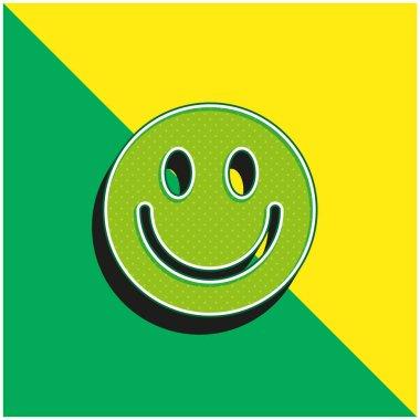 Big Smiley Face Green and yellow modern 3d vector icon logo stock vector