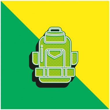 Backpack Green and yellow modern 3d vector icon logo stock vector