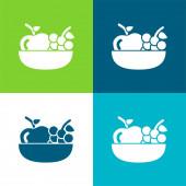 Jablko a hrozny na misce ploché čtyři barvy minimální ikona sada