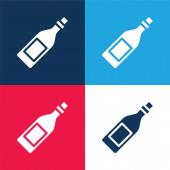 Láhev modrá a červená čtyři barvy minimální ikona nastavena