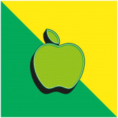 Apple Green and yellow modern 3d vector icon logo