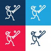 Baseballspieler blau und rot vier Farben minimalen Symbolsatz