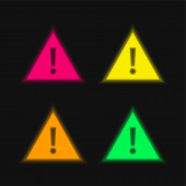 Attention four color glowing neon vector icon