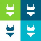 Bikini Anzug Flache vier Farben minimales Symbol-Set