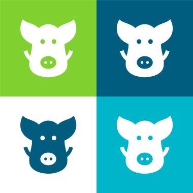 Boar Flat four color minimal icon set stock vector