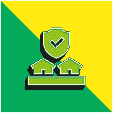 Auction Green and yellow modern 3d vector icon logo stock vector