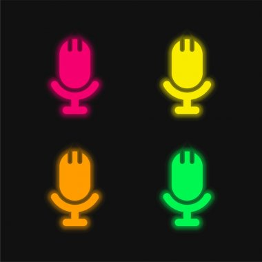 Big Microphone four color glowing neon vector icon stock vector