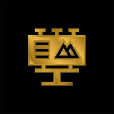 Billboard altın kaplama metalik simge veya logo vektörü