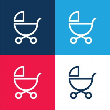 Baby Stroller Outline Of Side View blue and red four color minimal icon set