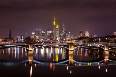 Frankfurt Main skyline at night