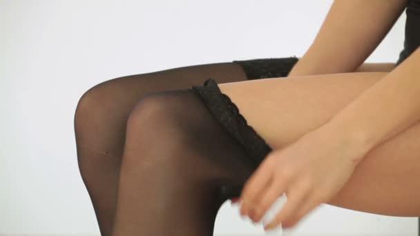 Elhelyezés a harisnya fehérnemű szexi nő