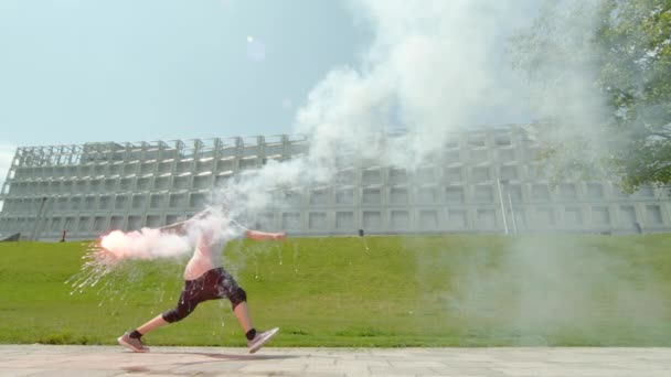 Man running and holding a torch, Ultra Slow Motion